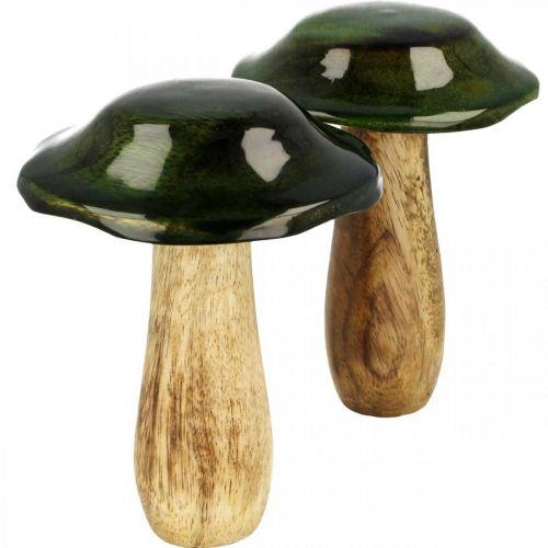 Hongo verde mango madera decoración otoñal de madera Ø9cmH11cm 2pcs