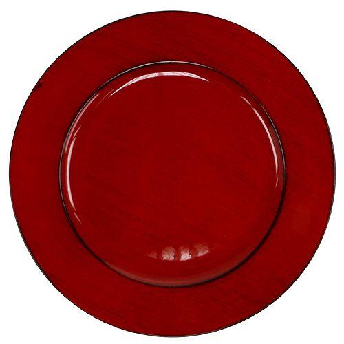 Plato de plástico Ø33cm rojo-negro