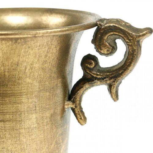 Taza decorativa con asas dorado Ø11cm H17.8cm aspecto antiguo