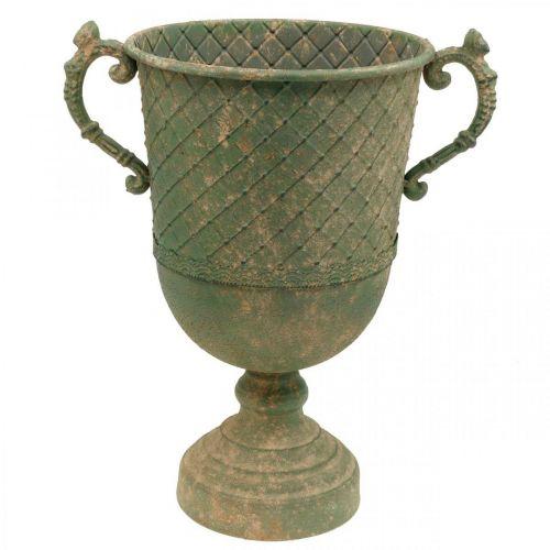 Copa de metal para plantar, copa con asas, jardinera Ø25cm H43cm