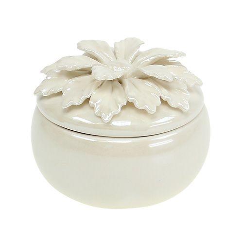 Caja de porcelana crema Ø7,5cm H6cm