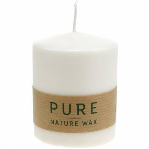 Vela de pilar PURE Nature, vela natural sostenible hecha de estearina y cera de colza 90 / 70mm