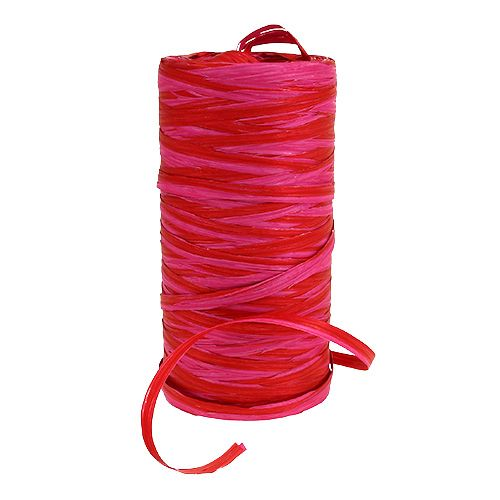Rafia bicolor rojo-rosa 200m