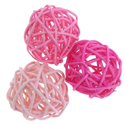 Bolas de ratán rosa surtido Ø4cm 24pcs
