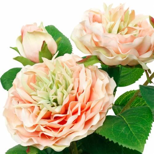 Rosa decorativa en maceta, románticas flores de seda, peonía rosa