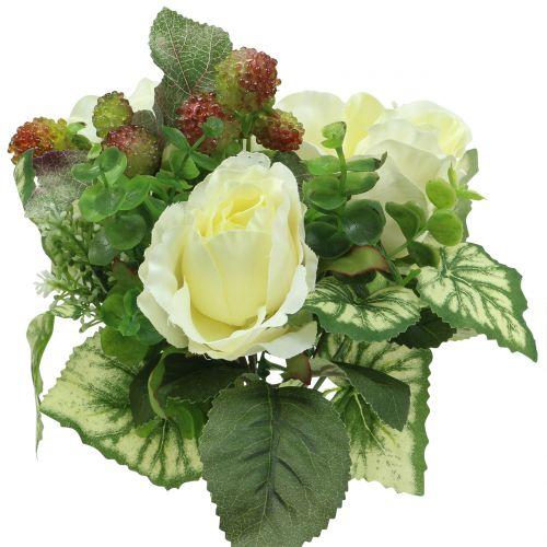 Ramo de rosas / hortensias blancas con frutos rojos 31cm