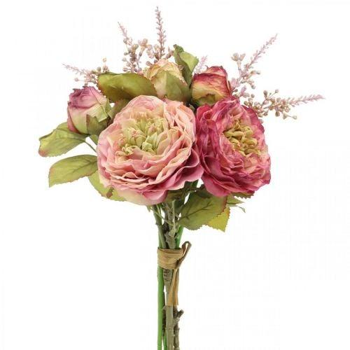 Flores de seda de rosas en un ramo de otoño rosa, violeta H36cm