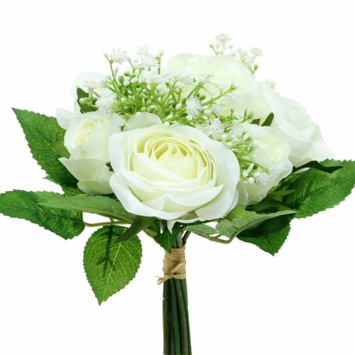 Ramo de rosas con gypsophila blanco 26cm