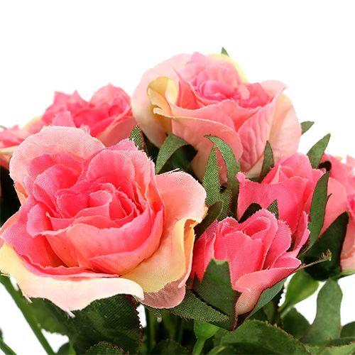 Ramo de rosas en rosa L26cm 3 piezas