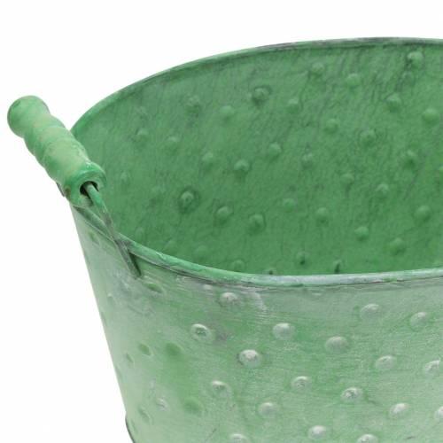Jardinera decorativa metal verde ovalada 25.5x18.5cm H13cm