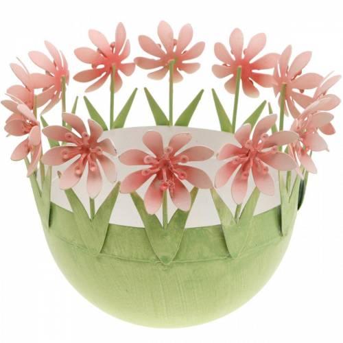 Macetero, decoración de primavera, tazón de metal con decoración de flores, canasta de Pascua