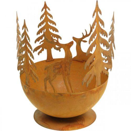 Cuenco de metal con ciervo, decoración de bosque para Adviento, recipiente decorativo de acero inoxidable Ø25cm H29cm