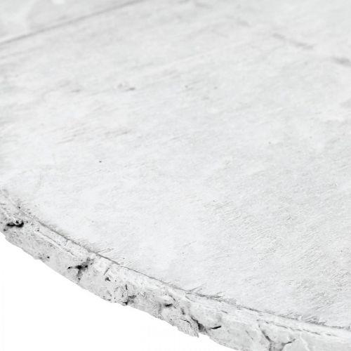 Disco de madera decorativo con posavasos blanco corteza de contrachapado Ø20cm