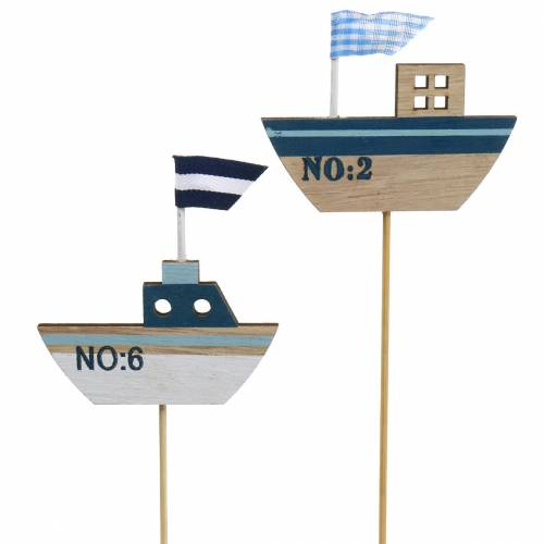 Enchufe decorativo barco madera blanco azul natural 8cm H37cm 24pcs