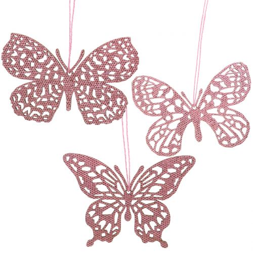 Decoración para colgar Schmetterling Pink Glitter10cm 6 piezas