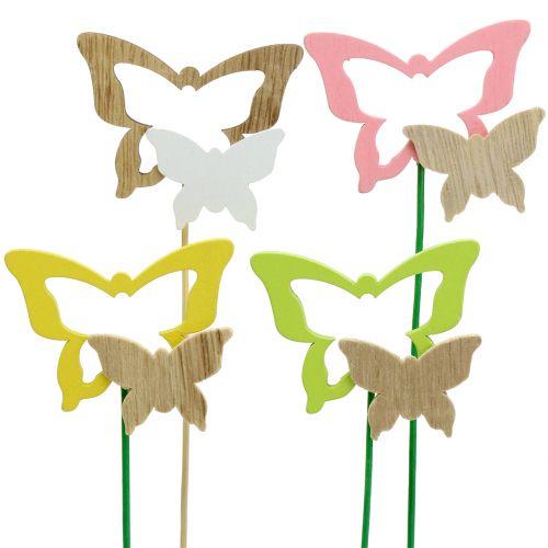 Enchufe decorativo mariposa colores surtidos H24cm 24pcs