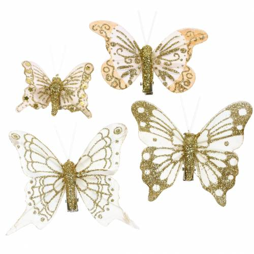 Mariposa de plumas en clip oro brillo 10 piezas