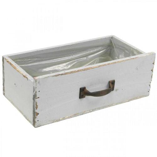 Jardinera cajón madera Shabby Chic gris 25x13x9cm