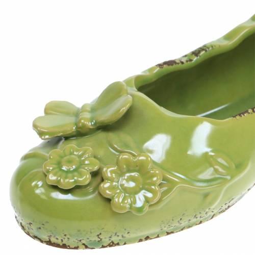 Jardinera zapato mujer ceramica verde 24cm