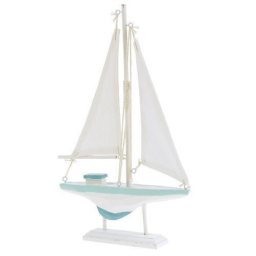 Velero madera blanco-azul, lino decoración marítima 30cm