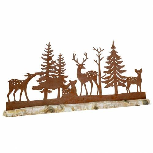 Silueta de bosque con animales rústicos sobre base de madera 57cm x 25cm