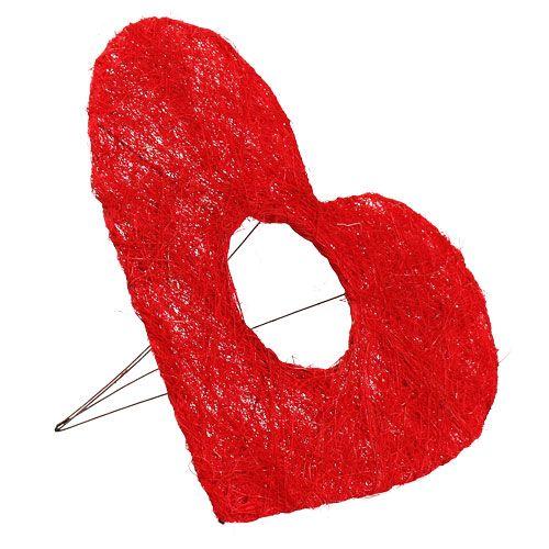 Brazalete corazón sisal 25cm rojo 10pcs
