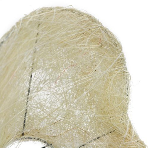 Brazalete de sisal corazón 15cm x 19cm blanqueado 1pc