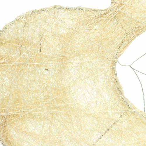 Puño de sisal corazón blanqueado 25.5cm 10pcs