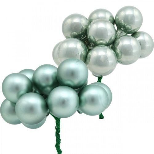 Mini bolas navideñas menta espejo bayas cristal Ø25mm 140p