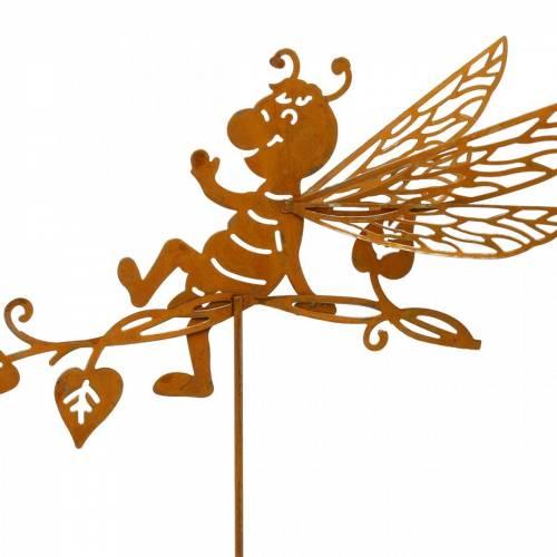 Tapón de jardín óxido de abeja 34,5 × 14cm decoración de jardín de metal 4 piezas