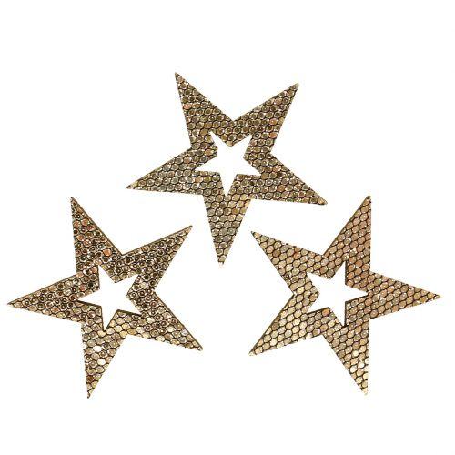 Wood Star Gold Decoración para controlar 4cm 48 piezas