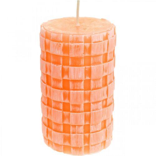 Velas rústicas, patrón de canasta de velas de pilar, velas de cera naranja 110/65 2 piezas