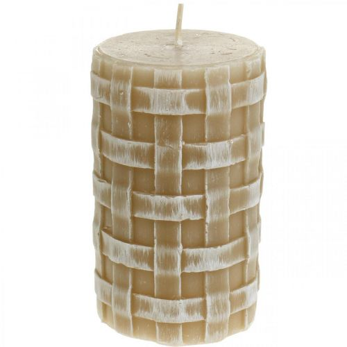 Velas de cera rústicas, velas de pilar marrón, velas trenzadas 110/65 2 piezas