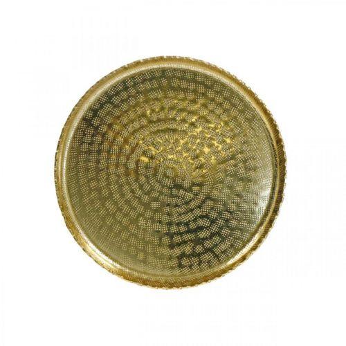 Bandeja de óptica oriental, placa decorativa dorada, decoración de metal Ø18,5cm