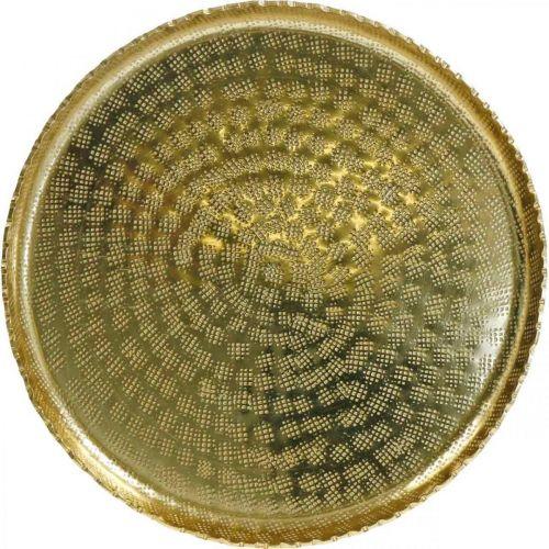 Bandeja redonda de metal, plato decorativo dorado, decoración oriental Ø30cm