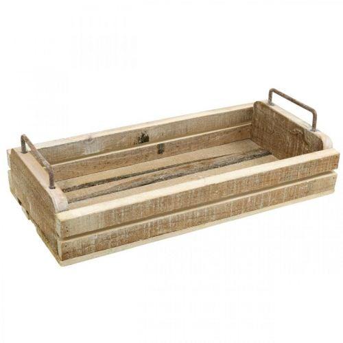 Bandeja de madera con asas de metal, macetero blanco lavado L40cm
