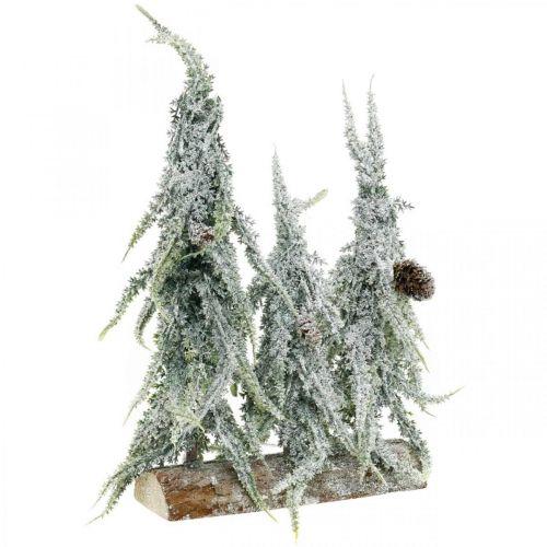 Abetos con nieve, decoración de Adviento, bosque de invierno L16.5cm H28cm