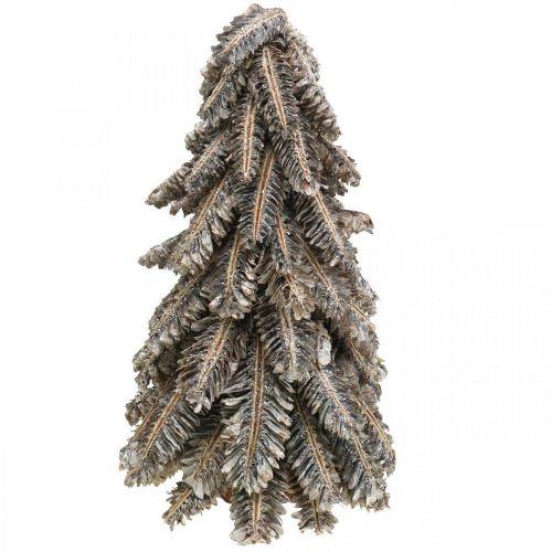 Abeto hecho de conos, árbol de Navidad cubierto de nieve, adornos de invierno, Adviento, blanco lavado H33cm Ø20cm