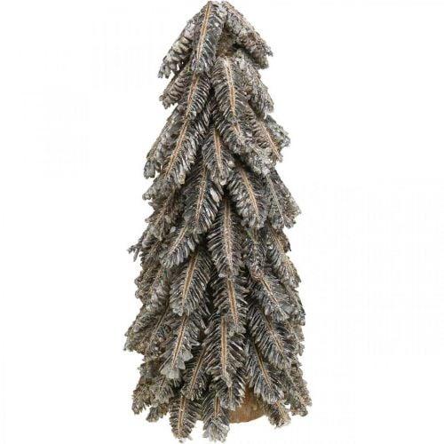 Piñas, adornos navideños, abeto de invierno cubierto de nieve, blanco lavado H40cm Ø18cm