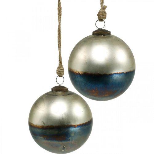 Bolas de Navidad Bola de cristal bicolor Ø12cm azul, metálico 2ud
