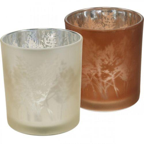 Farol de vidrio, candelita con motivo de hojas, decoración otoñal Ø8cm H9cm 2pcs