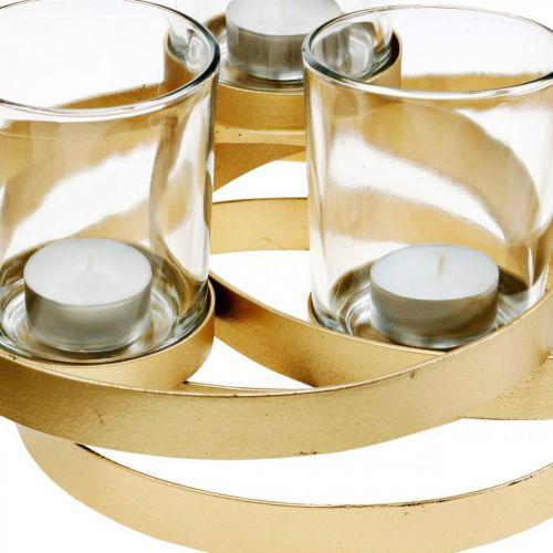 Portavelas de Adviento de metal redondo dorado con 4 vasos 34 × 26 × 18cm