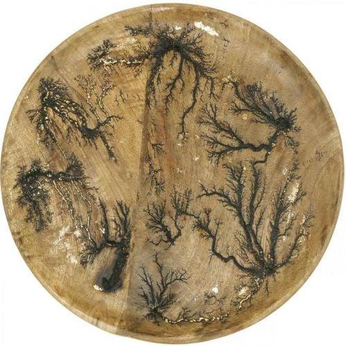 Plato decorativo madera natural, dorado efecto craquelado mango madera Ø30