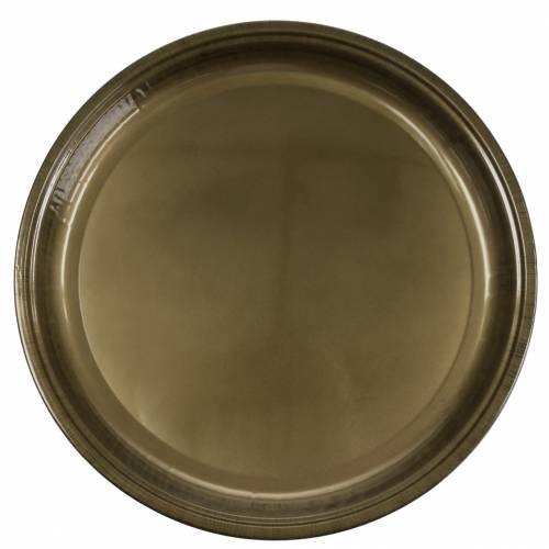Plato decorativo fabricado en metal bronce con efecto esmaltado Ø50cm