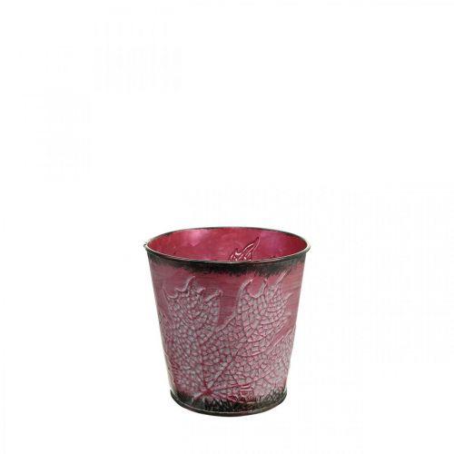 Jardinera con decoración de hojas, recipiente de metal, otoño, macetero rojo vino Ø10cm H10cm