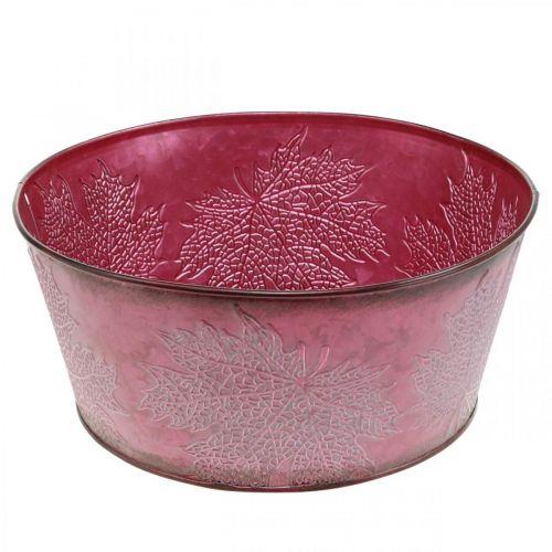 Macetero para otoño, recipiente de metal con decoración de hojas, maceta decorativa rojo vino Ø25cm H11cm