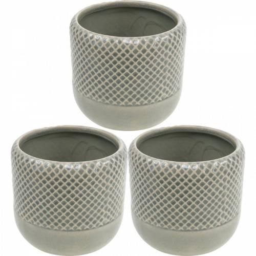 Jardinera de cerámica, maceta trenzada, maceta de cerámica Ø13cm 3ud