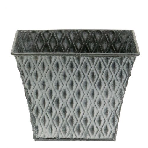 maceta de zinc con patrón de diamantes H11,5cm