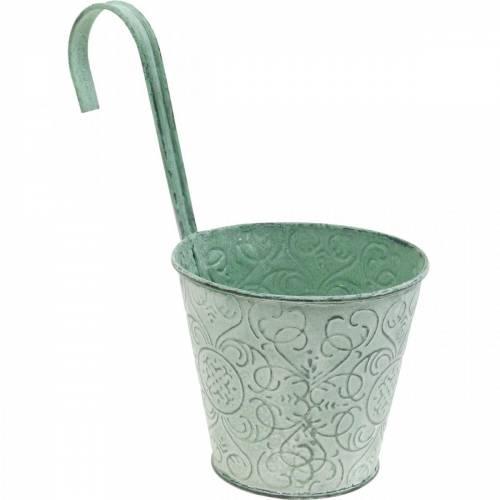 Macetero para colgar look vintage Macetero verde blanco lavado Ø11,5cm