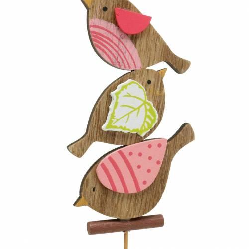 Decoración de primavera pájaros con palo de madera surtido H10,5cm 12pcs